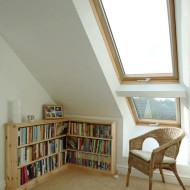 Internal Pine Finish Velux Duo With Aftermarket Velux Blinds Fitted. Property In Cambridge.
